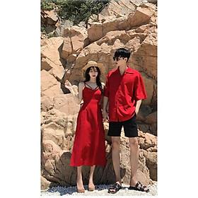 Set Áo váy đôi sơ mi CoupleTina họa tiết đi biển mềm mịn cao cấp - màu đỏ