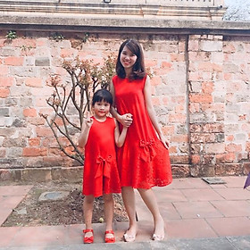 Váy đỏ phối zen tinh tế