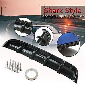 "Universal 25""x5"" Glossy Black Rear Shark Curved Addon Bumper Lip Diffuser 6 Fin"