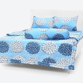 Bộ Drap Mền Chần Gòn vải Cotton Thắng Lợi - Hoa Tú Cầu