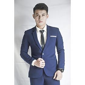 Bộ vest nam 1 nút màu xanh đen đậm ôm body chất liệu co dãn thoáng mát