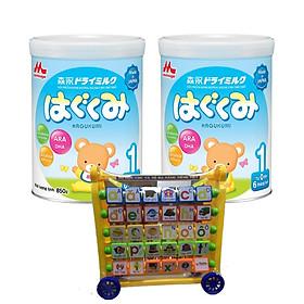 2 Hộp sữa morinaga số 1 Hagukumi (850g) - Tặng bộ đồ chơi mèo máy chăm học