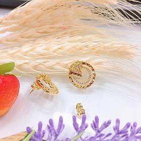 Bông tai nữ kim cương tròn mạ vàng 18k EKHM251AC
