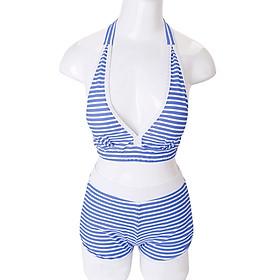 Set bikini quần short họa tiết sọc xanh