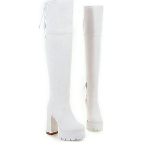 Giày Boot nữ cổ cao 12cm đế vuông sành điệu trắng GCC4802
