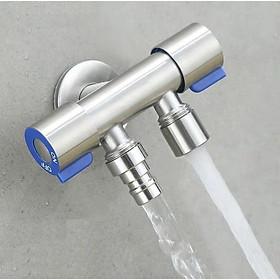 Van Nước 2 cổng xả có điều khiển riêng biệt dạng vòi chia nước. Đường kính van 20mm, Chất liệu bằng Inox