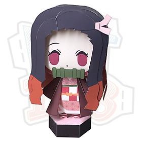 Mô hình giấy Anime Chibi Nezuko Kamado - Demon Slayer (Kimetsu no Yaiba) + kit mô hình hộp trang trí