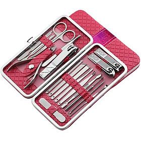 Bộ cắt, bấm móng tay, bộ kiềm cắt bằng thép không gỉ, 18 món - Hộp da thiết kế dạng ví cầm tay cao cấp