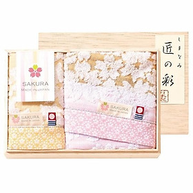 Bộ quà tặng khăn hoa anh đào trắng Prairiedog Nhật Bản (khăn vuông*1 chiếc + khăn lông*1 chiếc)