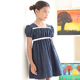 Đầm Bé Gái Kika Xanh Đen Chấm Bi Viền Ngực Trắng K102