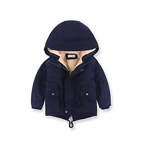 Áo khoác lót lông màu xanh than bé trai 3-10 tuổi