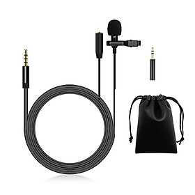 Lavalier Microphone Lapel Clip-on Condenser Mini Mic 3.5mm TRRS Plug for Video Music Interview Recording with Type-C
