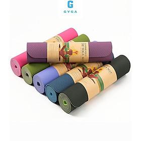 Thảm tập gym yoga chống trơn trượt TPE cao su 2 lớp 6mm tấm miếng đệm nót tập thể dục tại nhà