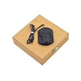 Hình đại diện sản phẩm Vòng cổ đầu chó sói CS1 đá thạch anh đen kèm hộp gỗ