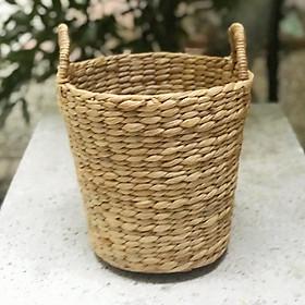 Sọt lục bình (bèo) hình tròn dùng để quần áo, đồ chơi, trồng cây, homedecor phong cách kiểu Hàn