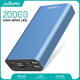 Sạc dự phòng JUYUPU PR6C 20000mAh vỏ nhôm kim loại cao cấp màn hình hiện thị dành cho iPhone Samsung OPPO VIVO HUAWEI XIAOMI - HÀNG CHÍNH HÃNG