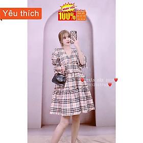 Váy kẻ cổ V, Cộc tay hàng loại 1 [ có video tự quay ]
