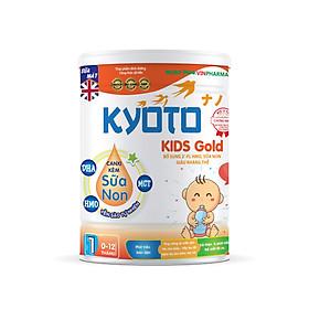 Sữa bột dinh dưỡng Kyoto KIDS GOLD Bổ sung sữa non giàu kháng thể giúp trẻ ăn dặm trong những tháng đầu đời NUTRI PLUS 0-12 tháng- 900G