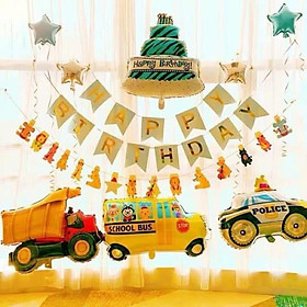 Set bóng trang trí sinh nhật ô tô, máy bay cho bé trai BB02