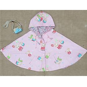 Áo khoác chống nắng cho bé gái 4 mùa kiểu áo cánh dơi poncho  mẫu heo peppa pig dễ thương cho bé từ 0-12 tuổi