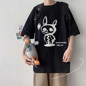 2 Color【M-5XL】Fashion Short Sleeve T-shirt Men Printed Rabbit Pattern Student Couple Short T-shirt Unisex T-shirt Summer New Style Oversize Couple Wear
