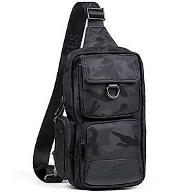Hình đại diện sản phẩm Seven wolves shoulder bag men's Messenger bag fashion casual water-proof large-capacity sports Oxford cloth chest bag black B0801175-301