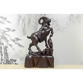 Tượng gỗ mỹ nghệ- Dê đứng kim tiền- gỗ chiu liu