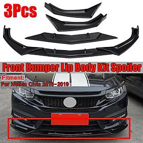 3PCS Front Bumper Lip Spoiler Splitter Protector Trim For Honda Civic 2016-2019