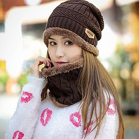 Mũ len nam kèm khăn cổ