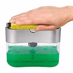 Dụng Cụ Đựng Nước Rửa Chén Và Miếng Bọt Biển Dạng Bơm, Xịt Đa Năng 2in1