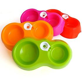 Bát nhựa đôi cho chó mèo, Bát cắm bình, Bát ăn uống tự động cấp nước (màu ngẫu nghiên)