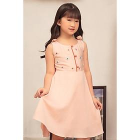 Đầm cho bé gái phối nút bọc nơ có nơ vai dễ thương xinh xắn GUMAC DKA404  màu Hồng ( dành cho bé gái từ 2 tuổi đến 9 tuổi)