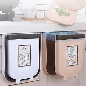 Thùng rác treo cánh cửa bếp thông minh, thùng rác gấp gọn TAG007 (giao màu ngẫu nhiên)