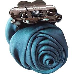 Kẹp tóc càng cua hoa hồng vải lụa nhiều màu sang trọng