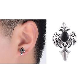 Bông tai nam bạc 925 - Khuyên tai bạc nam tròn đá đen BTA0006 - Trang Sức Bảo Tín