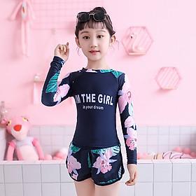Đồ bơi bé gái tay dài chống nắng, áo trước 2 lớp kín đáo, quần đùi sooc thể thao khỏe khoắn, hàng cao cấp, chất bơi đẹp | KT030