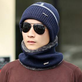 Sét mũ len nam kèm khăn 2 trong 1 cao cấp mới, bộ nón len nam thời trang