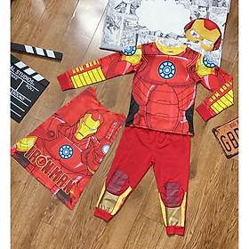 Bộ Đồ Người Sắt Iron Man Dài Tay In Cơ Bắp Cho Bé Trai (Tặng Kèm Choàng và Nạ)