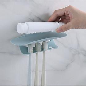 Kệ bàn chải, kệ để kem đánh răng dán tường nhà tắm, có sẵn miếng dán chống nước, kệ nhựa 4 mấu để bàn chải, dao cạo râu và 1 khay để kem đánh răng gọn gàng