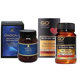 Combo Thực phẩm chức năng Viên dầu cá Hồi Omega3 và Viên Bổ Tim GO Co-Q10 160mg