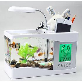 Bể Cá Mini 3 in 1 Kiêm Đồng Hồ Để Bàn Siêu Dễ Thương + tặng sỏi trang trí bể cá,sỏi biển đủ kích thước - Màu Ngẫu Nhiên