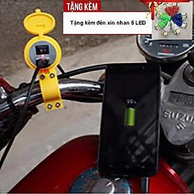 Bộ sạc pin điện thoại gắn trên xe máy, ô tô siêu tiện lợi A222-TK36 - Tặng kèm đèn xi nhan 5 Led