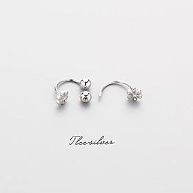 Khuyên tai bạc Tlee, Bông tai chốt vặn dáng cong hình hoa năm cánh dịu dàng- TleeSilver