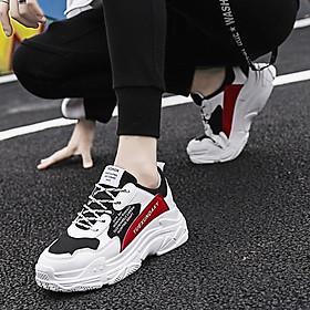 Giày Nam Thể Thao Sneaker Trắng Vải Dệt Đế Cao Su Nguyên Khối Siêu Êm Chân Phối Đen Đỏ Cực Chất Phong Cách Hàn Quốc (Hình thật) CTS-GN052