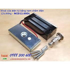 Khóa cửa bằng nam châm điện 12V lực hút 60kg size 80x38mm NCD12.60DL
