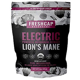Electric - Lion's Mane Mushroom Extract Powder - USDA Organic -60 g- Supplement - Mental Clarity and Focus - Add to Coffee/Tea/Smoothies-Real Fruiting Body No Fillers (60 Gram)