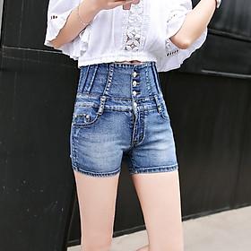 2020 new Korean version of the abdomen high waist denim shorts women's stretch slim slimming breasted plus size hot pants students