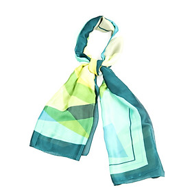 Khăn Choàng Cổ Lụa Phối Màu Xanh Lá Vàng - Silk - 180x90cm - Mã KS006