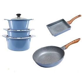Combo 5 món, nồi đúc ceramic đế từ xanh size 20-22-24cm, chảo vân đá ceramic vuông size 20x23cm và tròn size 26cm màu xanh (dùng được tất cả các bếp, kể cả bếp từ)