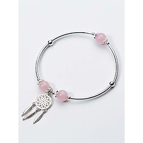 Vòng tay bạc đá thạch anh hồng charm Dreamcatcher mệnh hỏa, thổ - Ngọc Quý Gemstones